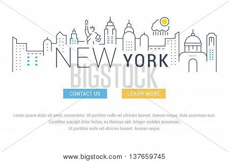 Flat line illustration of New York. Template for travel adventure vacation. Concept for web banners and printed materials. Template with buttons for website banner and landing page.