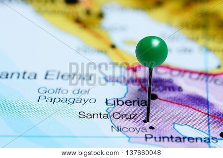 Santa Cruz pinned on a map of Costa Rica