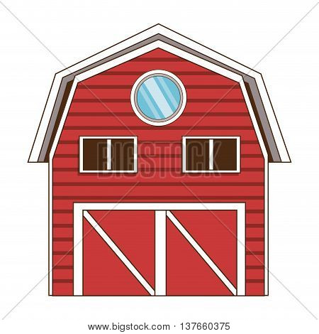 flat design red wooden barn icon vector illustration