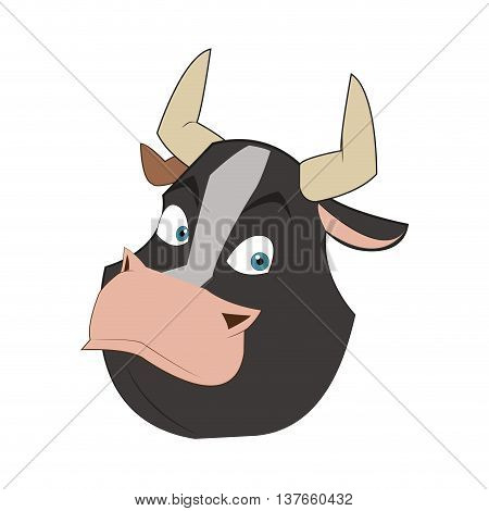 simple flat design bull cartoon icon vector illustration