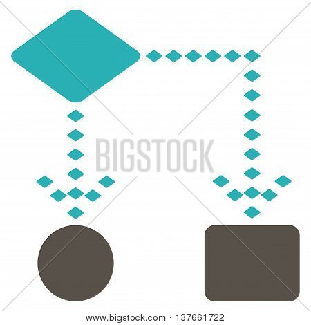 Algorithm Scheme vector toolbar icon. Style is bicolor flat icon symbol, grey and cyan colors, white background, rhombus dots.