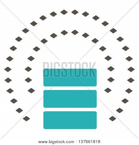 Database Sphere Shield vector toolbar icon. Style is bicolor flat icon symbol, grey and cyan colors, white background, rhombus dots.