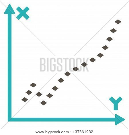 Dotted Function Plot vector toolbar icon. Style is bicolor flat icon symbol, grey and cyan colors, white background, rhombus dots.