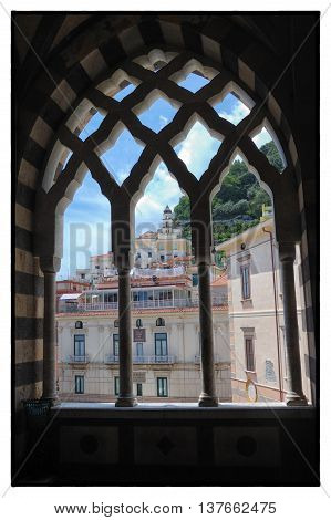 Amalfi, Salerno Italy - Norman Arabicstyle window in the Ancient Cathedral of  Amalfi (IXth Century)  on May 2016