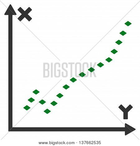 Dotted Function Plot vector toolbar icon. Style is bicolor flat icon symbol, green and gray colors, white background, rhombus dots.