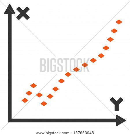 Dotted Function Plot vector toolbar icon. Style is bicolor flat icon symbol, orange and gray colors, white background, rhombus dots.
