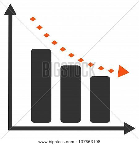 Dotted Negative Trend vector toolbar icon. Style is bicolor flat icon symbol, orange and gray colors, white background, rhombus dots.