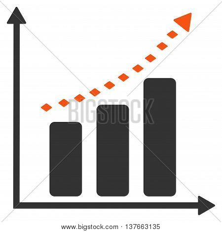 Dotted Positive Trend vector toolbar icon. Style is bicolor flat icon symbol, orange and gray colors, white background, rhombus dots.
