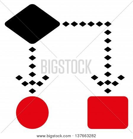 Algorithm Scheme vector toolbar icon. Style is bicolor flat icon symbol, intensive red and black colors, white background, rhombus dots.