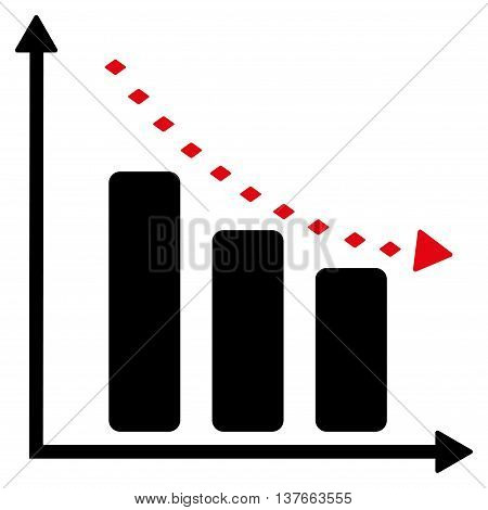 Dotted Negative Trend vector toolbar icon. Style is bicolor flat icon symbol, intensive red and black colors, white background, rhombus dots.