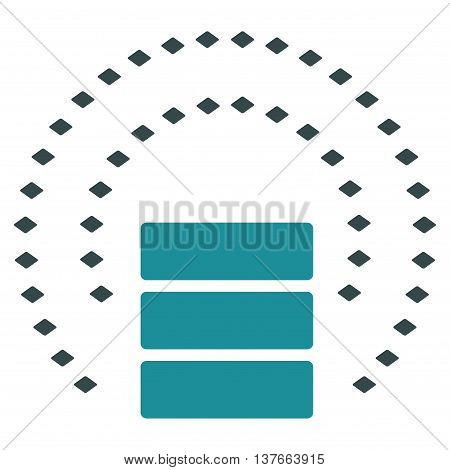 Database Sphere Shield vector toolbar icon. Style is bicolor flat icon symbol, soft blue colors, white background, rhombus dots.
