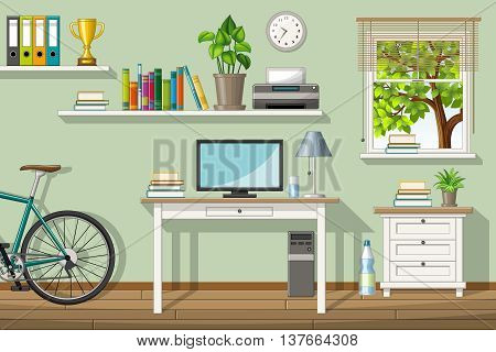 Illustration of a classic homeoffice with utensil
