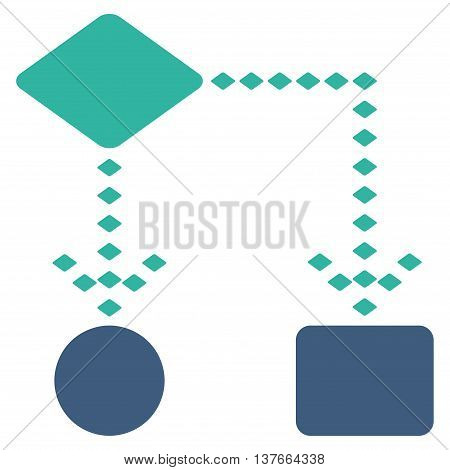 Algorithm Scheme vector toolbar icon. Style is bicolor flat icon symbol, cobalt and cyan colors, white background, rhombus dots.