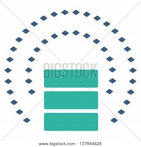 Database Sphere Shield vector toolbar icon. Style is bicolor flat icon symbol, cobalt and cyan colors, white background, rhombus dots.