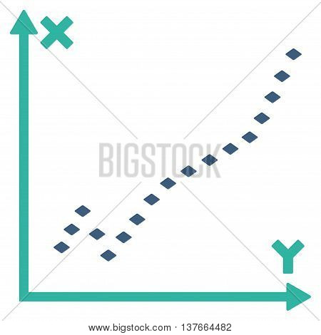 Dotted Function Plot vector toolbar icon. Style is bicolor flat icon symbol, cobalt and cyan colors, white background, rhombus dots.