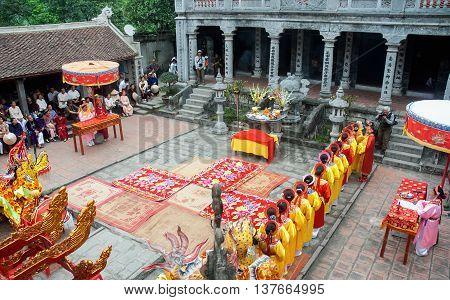 Ninh Binh, Vietnam, April 24, 2016 group of people, Ninh Binh, Vietnam, participated in Thai Vi temple rituals, relics Trang An, Ninh Binh Province