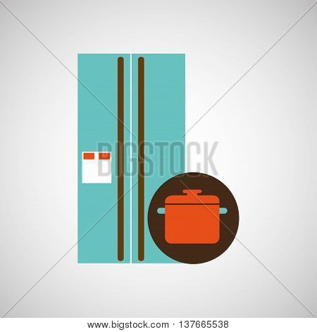 kitchen tools food Cookware fridge isolated, vector illustration