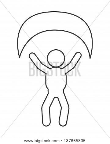 simple flat design person with parachute pictogram icon vector illustration