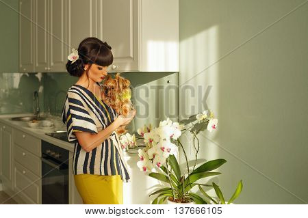 Girl holds a Yorkshire terrier. Home pet. Pedigree dog. Funny animals. Girl and pet in the kitchen