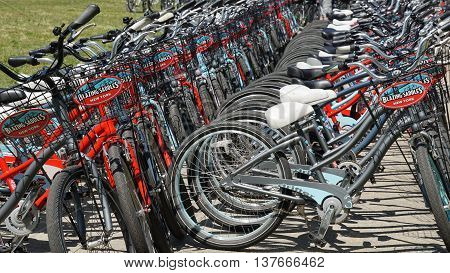 NEW YORK, NY - JUN 19: Bicycles at Governors Island in New York, as seen on Jun 19, 2016. It is a 172-acre island and is part of the borough of Manhattan in New York City.