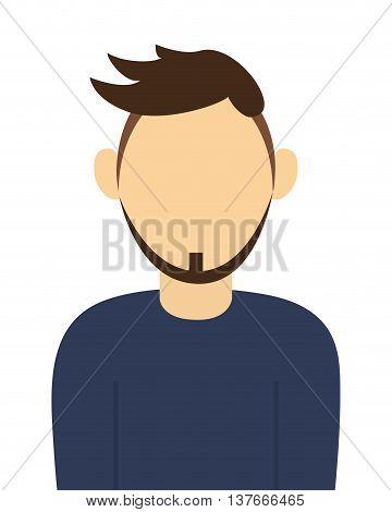 simple flat design faceless man with beard portrait icon vector illustration
