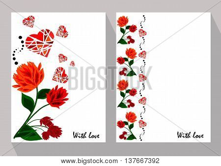 Greeting cards with abstract orange and red flowers in ethnic style for declarations of love a gift for a loved one or a donation for the holiday or other