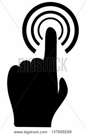 touch icon symbol human finger cursor touching cyberspace