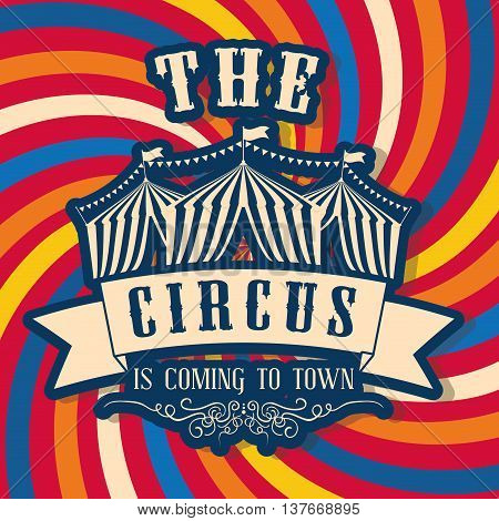 Circus and carnival concept represented by Tent icon. Colorfull illustration. Striped background