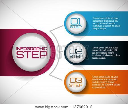 Data and steps represented by infographics labels icon. Colorfull and isolated illustration