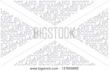 Scotland flag constructed using text forming Saint Andrews Cross adopted in the fifthteenth century isolated on white background