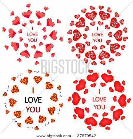 Mandala with hearts. It can be used for declarations of love as a decoration for the wedding menu discount cards romantic stores and other applications