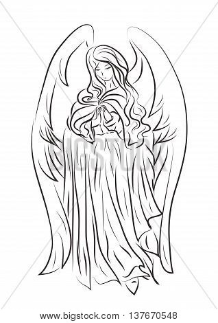 Picture of a beautiful angel girl in a cartoon style. It can be used for the Easter holiday or religious events and other