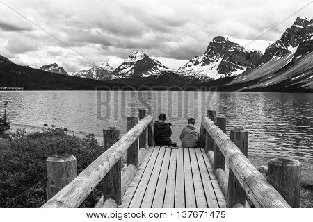 Beautiful Bow Lake Banff Canada in black and white