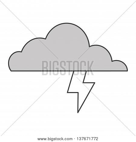 simple flat design cloud witn lightning ray icon vector illustration