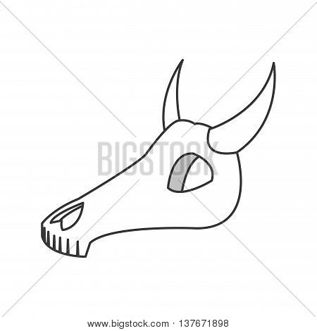 flat design bull or cow skull icon vector illustration