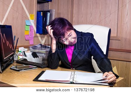 Stress Business Woman Looking Document Sheet Work Problem In Office And Graph Down Crisis