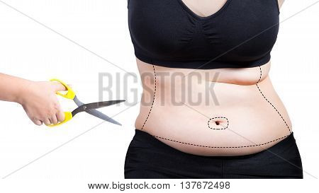 fat woman plastic surgery mark hand cut body fat liposuction concept