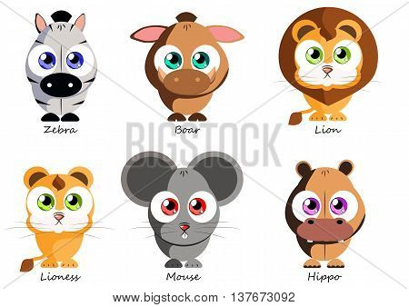 Set funny animals for use as stickers in books games fabric and other projects