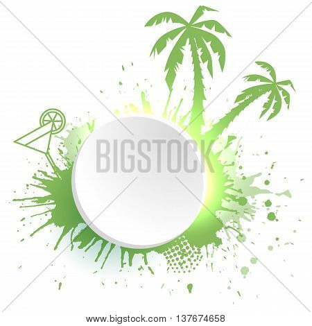 Template round frame with watercolor splashes palm tree cocktail and place for text. Icon for summer sales