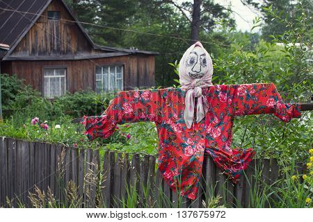 scarecrow female in shawl stand in garden