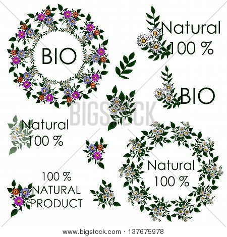Summer Mandala. Sticker for natural products and natural ingredients or herbs for pharmaceutical or other