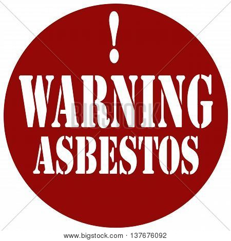 Red stamp with text Warning Asbestos,vector illustration