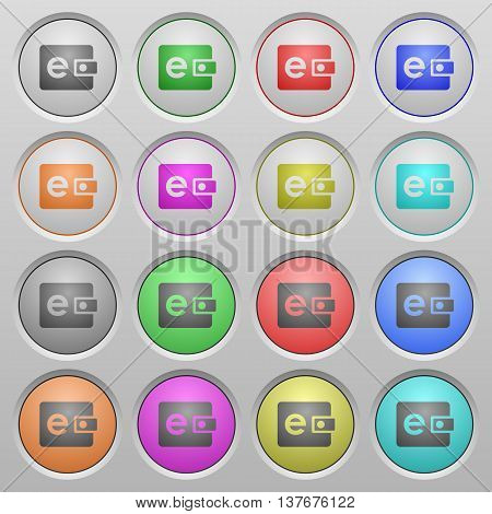 Set of E-wallet plastic sunk spherical buttons.