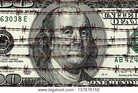 conceptual image of hundred dollar bill