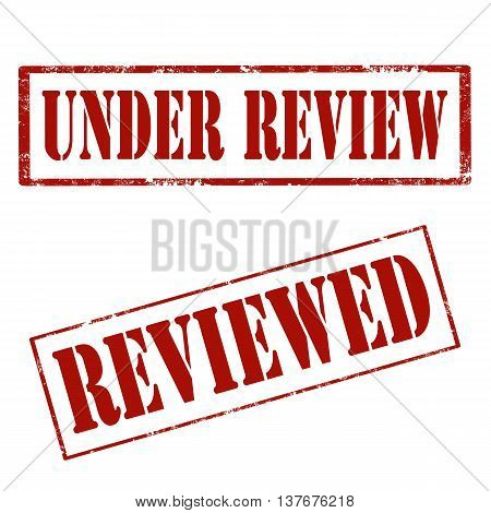 Set of grunge rubber stamps with text Under Review and Reviewed,vector illustration