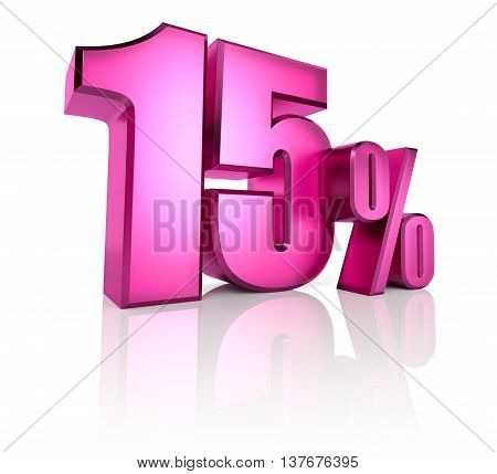 Pink fifteen percent sign isolated on white background. 3d rendering