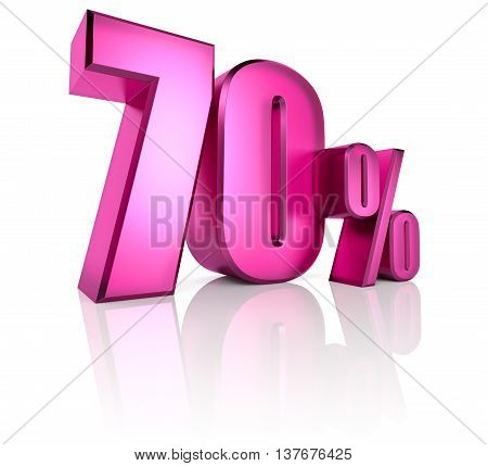 Pink seventy percent sign isolated on white background. 3d rendering