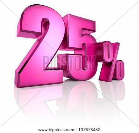 Pink twenty five percent sign isolated on white background. 3d rendering