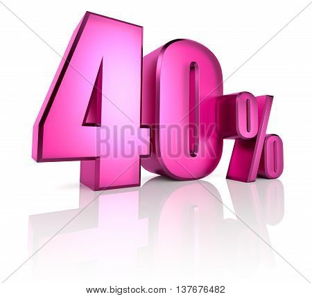 Pink forty percent sign isolated on white background. 3d rendering