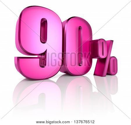 Pink ninety percent sign isolated on white background. 3d rendering